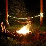 solar powered camping lights around hammock