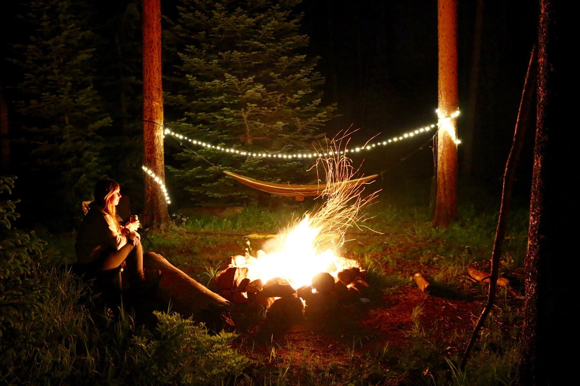 solar powered camping lights around hammock